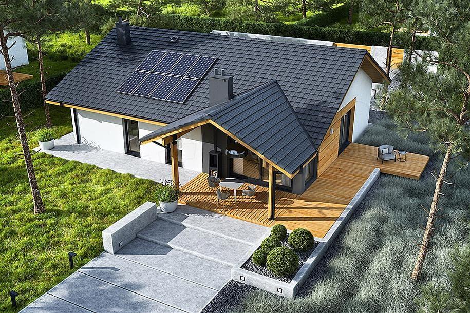 """Проект одноэтажного дома """"Рорк"""" с ломаной кровлей (145 кв.м.) - Фасад 2"""