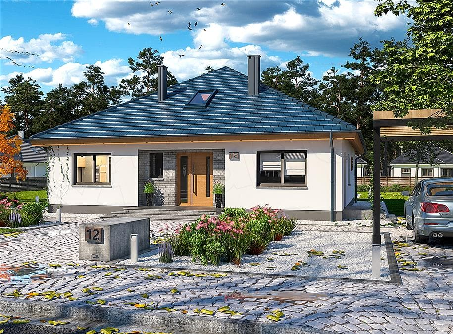 "Проект одноэтажного дома ""Дарио"" с крыльцом (120 м2) - Фасад 4"