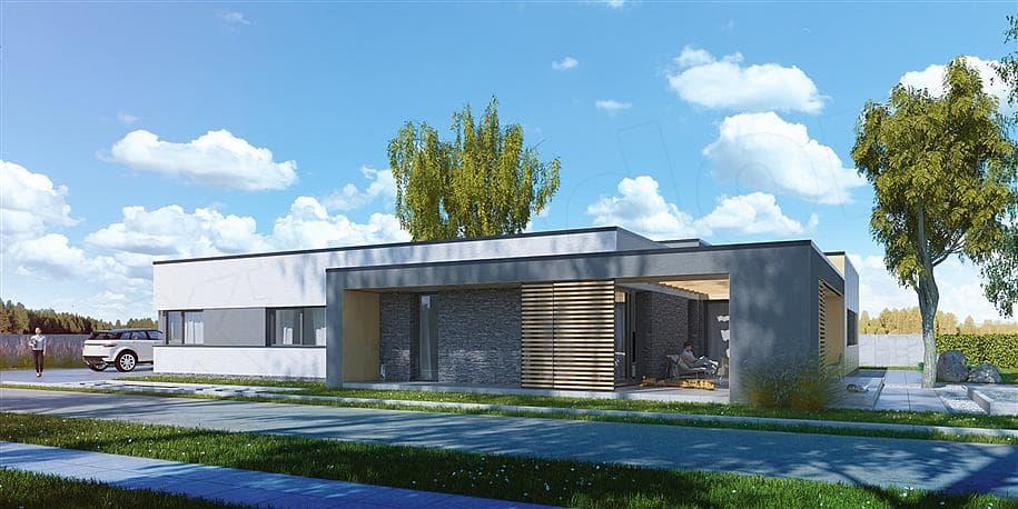 """Проект одноэтажного дома """"Роршер"""" с плоской кровлей 13 на 13 (287 м2) - Фасад 1"""