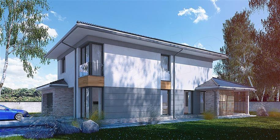"""Проект двухэтажного дома """"Вагрим"""" из газобетона с 3 спальнями (213 кв.м.) - Фасад 2"""