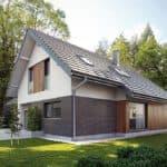 """Проект двухэтажного дома """"Оригин"""" в европейском стиле с гаражом на 2 авто (163 кв.м.) - Фасад 1"""