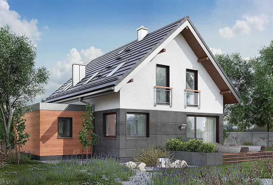 """Проект дома мансардного типа """"Жерам"""" с кухней-гостиной 12 на 12 (120 кв.м.) - Фасад 5"""