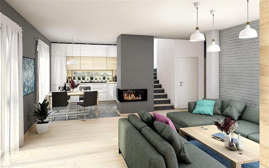 """Проект дома мансардного типа """"Фрао"""" в современном стиле с гаражом (115 кв.м.) - Внутри 3"""