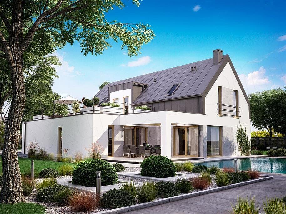 "Проект дома мансардного типа ""Никрон"" с 5 спальными комнатами (207 кв.м.) - Фасад 2"