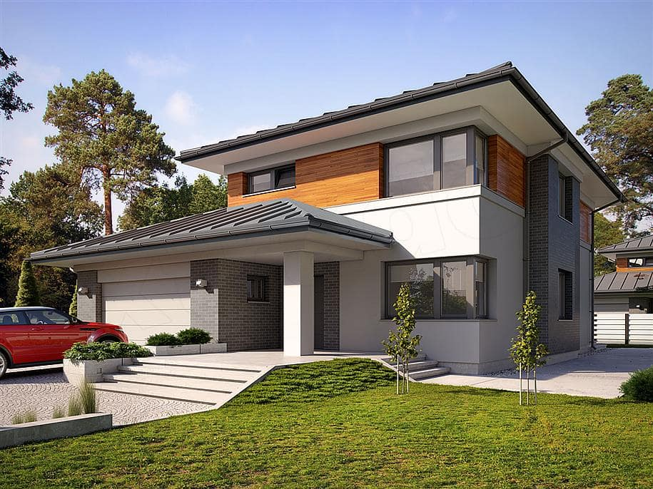 "Проект двухэтажного дома ""Манхет"" с гаражом на 2 авто 13 на 13 (193 кв. м.) - Фасад 1"
