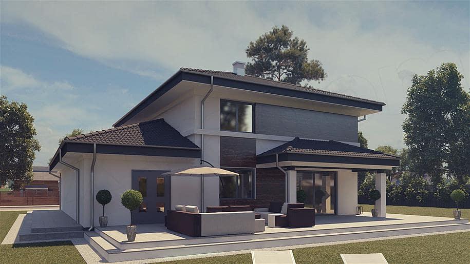 """Проект двухэтажного дома """"Шорох"""" с гаражом на 2 авто и 4 спальнями (163 кв.м.) - Фасад 2"""