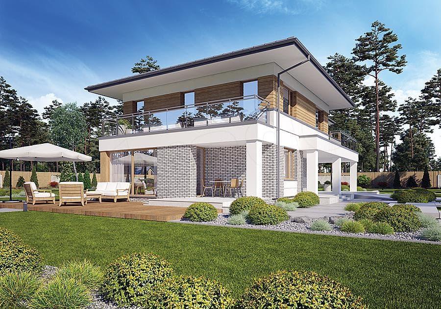 """Проект двухэтажного дома """"Лигенд"""" с 2 входами 18 на 11 (170 кв.м.) - Фасад 2"""