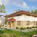 """Проект двухэтажного квадратного дома """"Краснин"""" из газобетона (200 м2) - Фасад 3"""