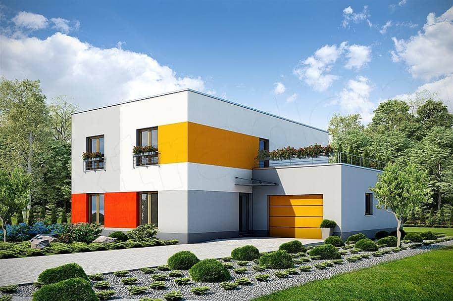 """Проект двухэтажного дома """"Поли"""" из газобетона с плоской кровлей (213 кв.м.) - Фасад 3"""