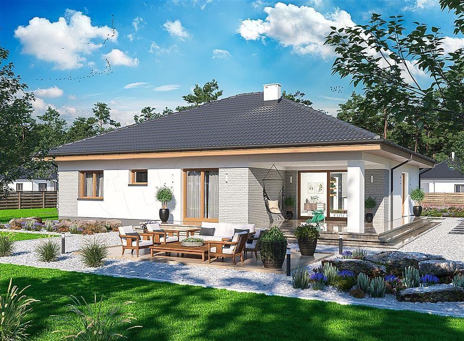 "Проект одноэтажного дома с гаражом ""Зигмунт"" 15 на 17 (132 м2) - Фасад 1"