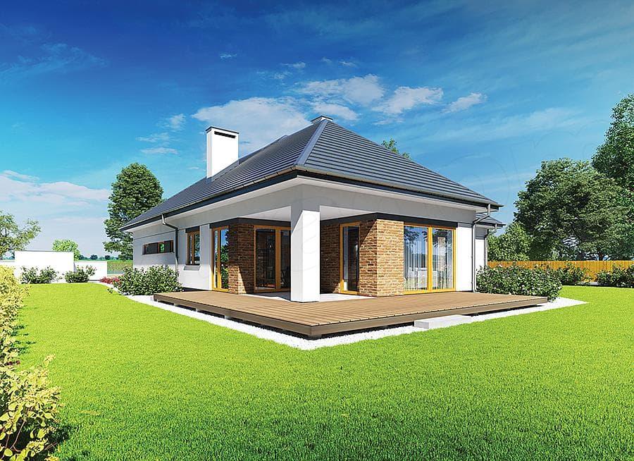"""Проект небольшого одноэтажного дома """"Мифрин"""" 15 на 14 (146 кв.м) - Фасад 1"""