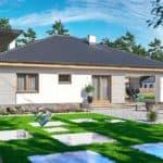 "Проект одноэтажного дома с гаражом ""Зигмунт"" 15 на 17 (132 м2) - Фасад 3"