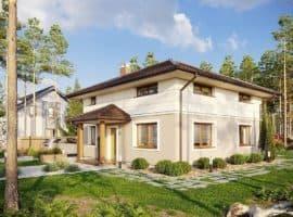 """Проект двухэтажного квадратного дома """"Краснин"""" из газобетона (200 м2) - Фасад 2"""