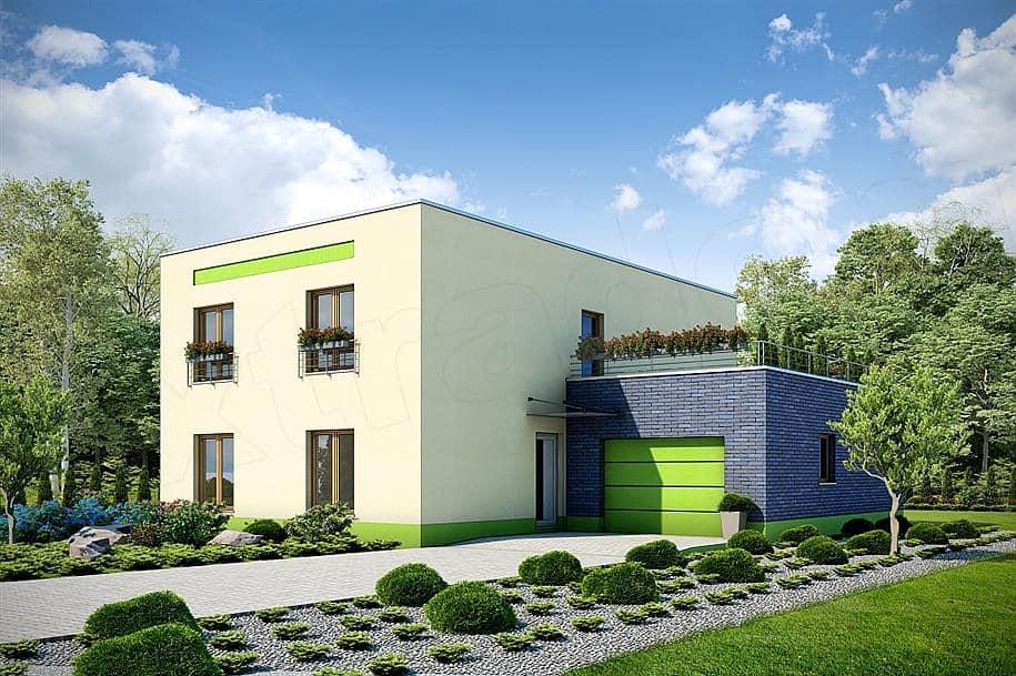 """Проект двухэтажного дома """"Поли"""" из газобетона с плоской кровлей (213 кв.м.) - Фасад 2"""