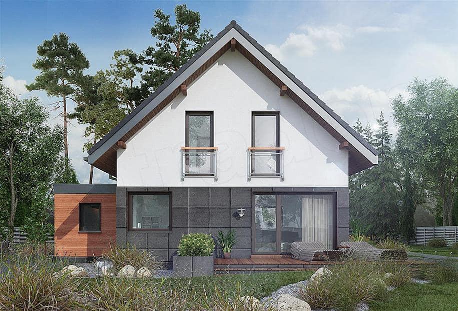 """Проект дома мансардного типа """"Жерам"""" с кухней-гостиной 12 на 12 (120 кв.м.) - Фасад 4"""