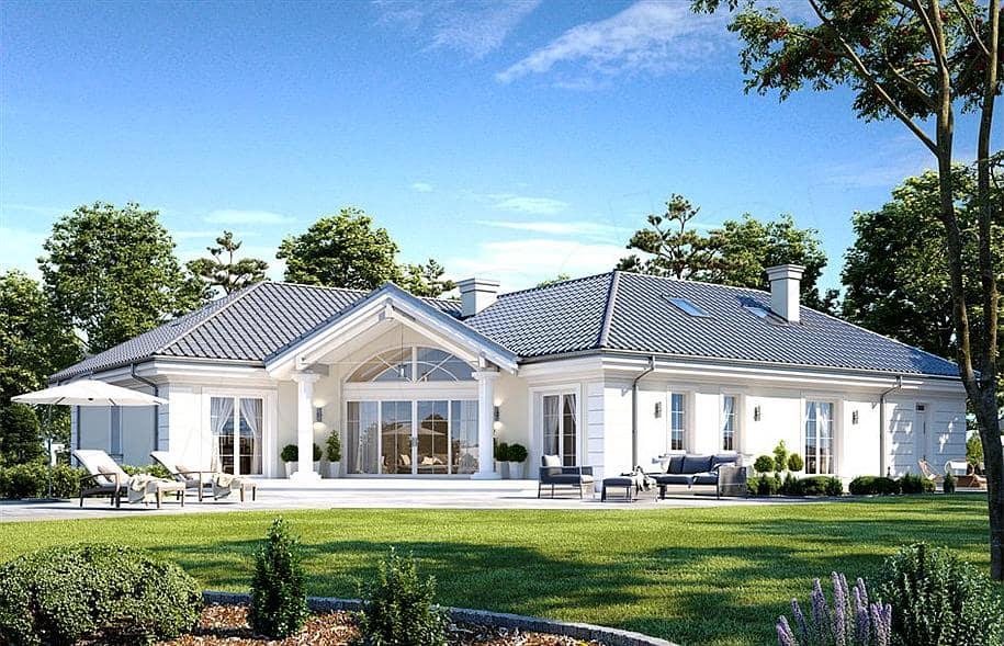 """Проект одноэтажного дома """"Абраам"""" в классическом стиле (160 м2) - Фасад 3"""