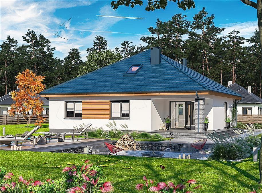 "Проект одноэтажного дома ""Дарио"" с крыльцом (120 м2) - Фасад 1"