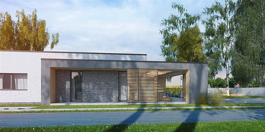 """Проект одноэтажного дома """"Роршер"""" с плоской кровлей 13 на 13 (287 м2) - Фасад 3"""