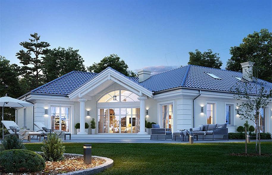 """Проект одноэтажного дома """"Абраам"""" в классическом стиле (160 м2) - Фасад 4"""