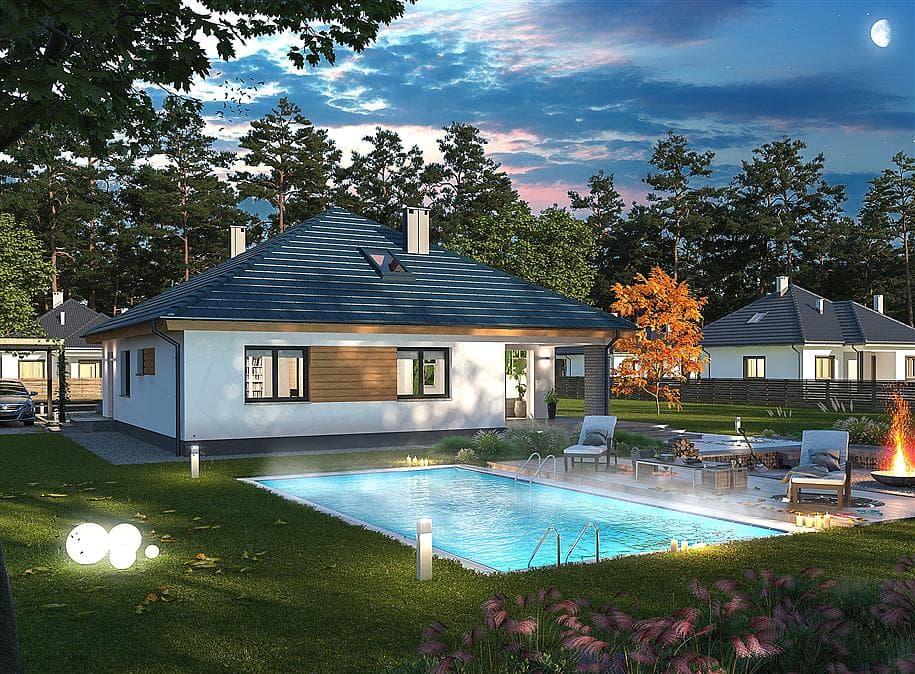 "Проект одноэтажного дома ""Дарио"" с крыльцом (120 м2) - Фасад 3"