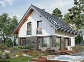 """Проект дома мансардного типа """"Жерам"""" с кухней-гостиной 12 на 12 (120 кв.м.) - Фасад 1"""