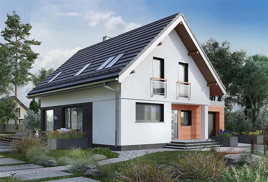 """Проект дома мансардного типа """"Жерам"""" с кухней-гостиной 12 на 12 (120 кв.м.) - Фасад 2"""