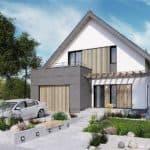 """Проект дома мансардного типа """"Фрао"""" в современном стиле с гаражом (115 кв.м.) - Фасад 1"""