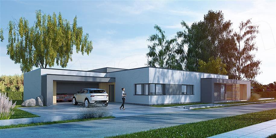 """Проект одноэтажного дома """"Роршер"""" с плоской кровлей 13 на 13 (287 м2) - Фасад 5"""