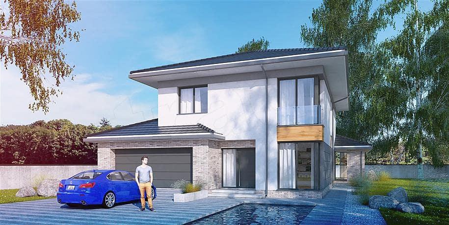 """Проект двухэтажного дома """"Вагрим"""" из газобетона с 3 спальнями (213 кв.м.) - Фасад 3"""