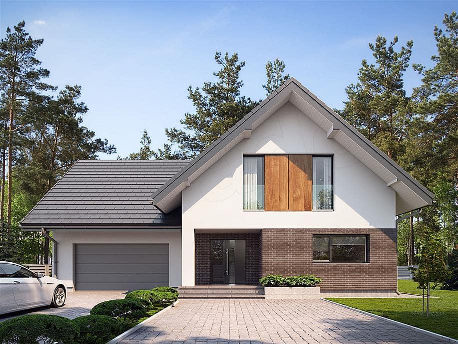 """Проект двухэтажного дома """"Оригин"""" в европейском стиле с гаражом на 2 авто (163 кв.м.) - Фасад 3"""