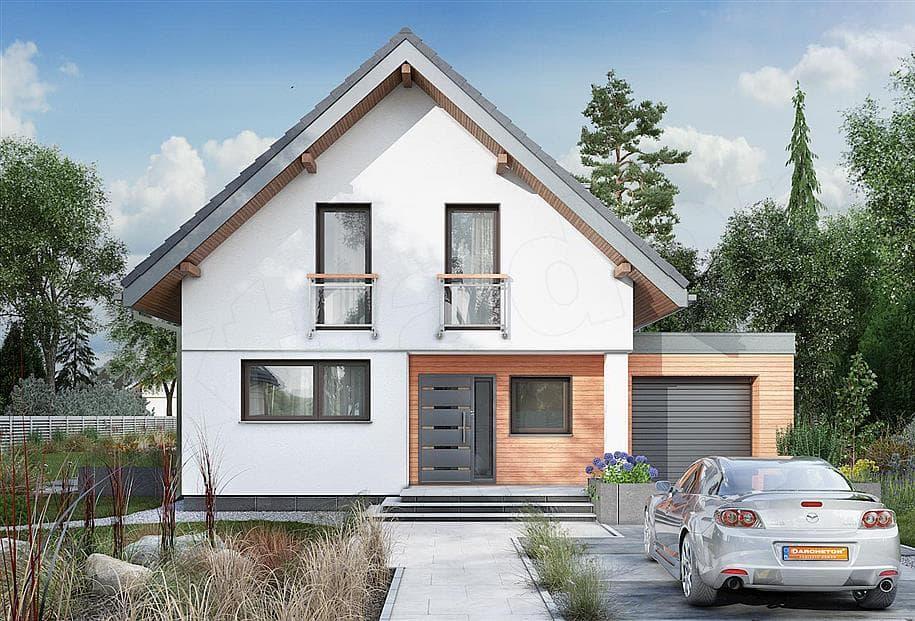 """Проект дома мансардного типа """"Жерам"""" с кухней-гостиной 12 на 12 (120 кв.м.) - Фасад 3"""