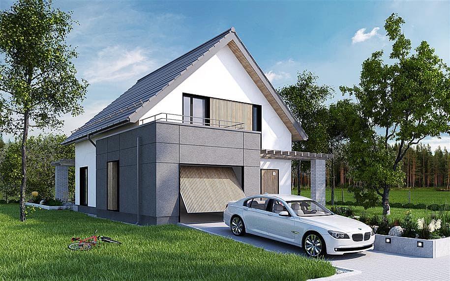 """Проект дома мансардного типа """"Фрао"""" в современном стиле с гаражом (115 кв.м.) - Фасад 2"""