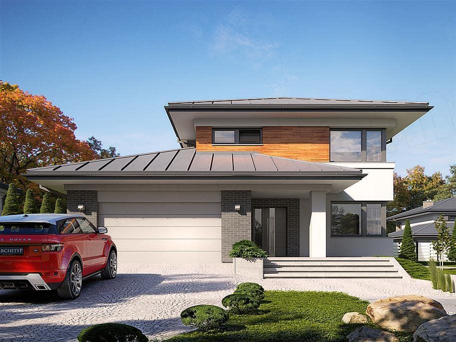 "Проект двухэтажного дома ""Манхет"" с гаражом на 2 авто 13 на 13 (193 кв. м.) - Фасад 3"