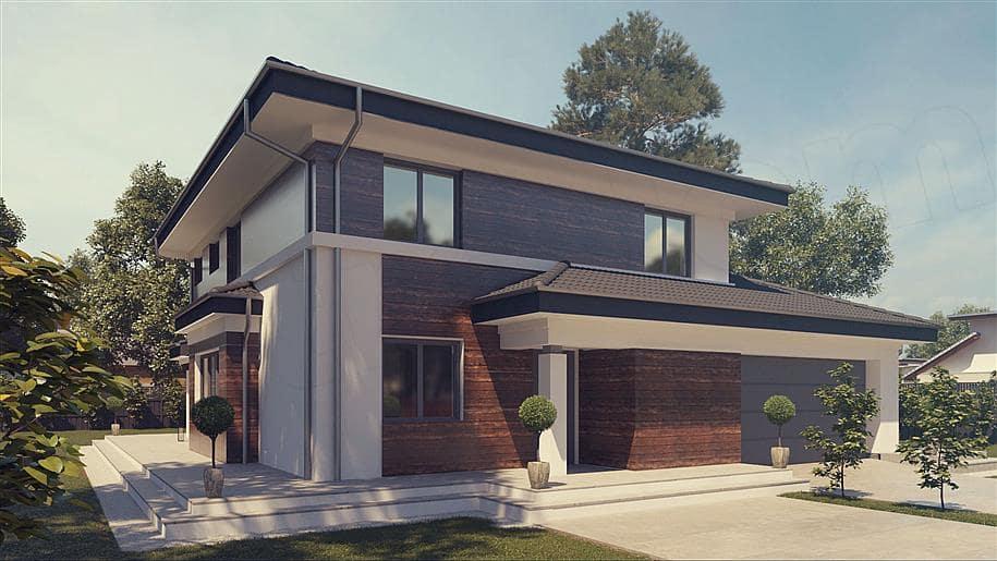 """Проект двухэтажного дома """"Шорох"""" с гаражом на 2 авто и 4 спальнями (163 кв.м.) - Фасад 3"""