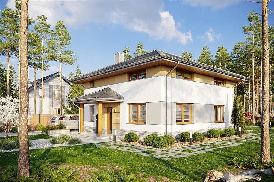 """Проект двухэтажного квадратного дома """"Краснин"""" из газобетона (200 м2) - Фасад 1"""