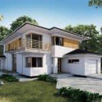 "Проект двухэтажного дома ""Опорус"" из кирпича с гаражом на 1 авто 18 на 10 (193 м2) - Фасад 1"