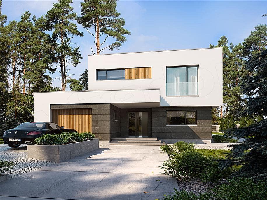 """Проект двухэтажного дома """"Доминус"""" с гаражом 16 на 13 (233 кв.м.) - Фасад 1"""