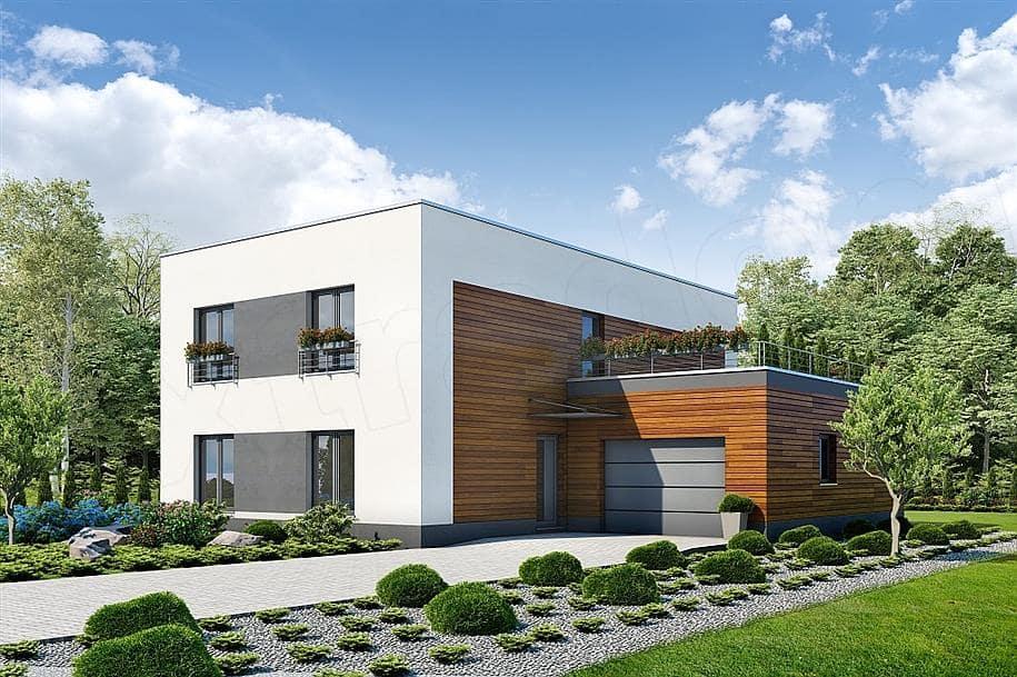 """Проект двухэтажного дома """"Поли"""" из газобетона с плоской кровлей (213 кв.м.) - Фасад 1"""