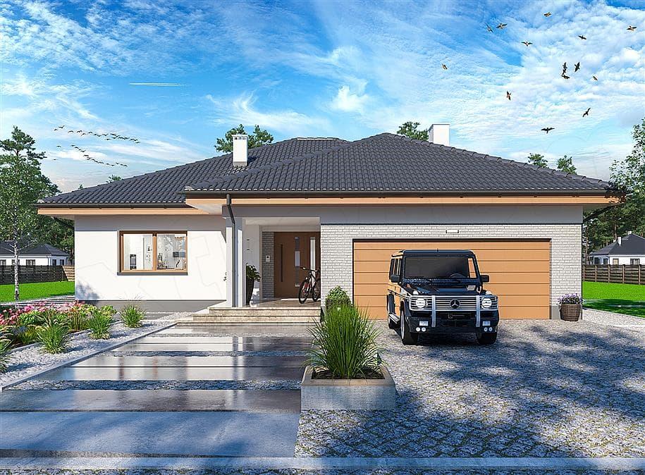 "Проект одноэтажного дома с гаражом ""Зигмунт"" 15 на 17 (132 м2) - Фасад 4"