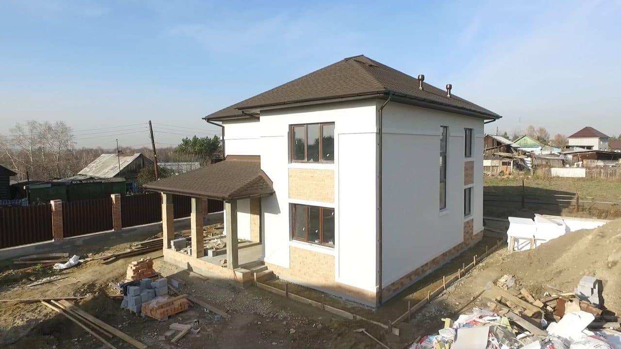 Строительство двух двухэтажных домов из газобетона в г. Ангарск - Фасад 4