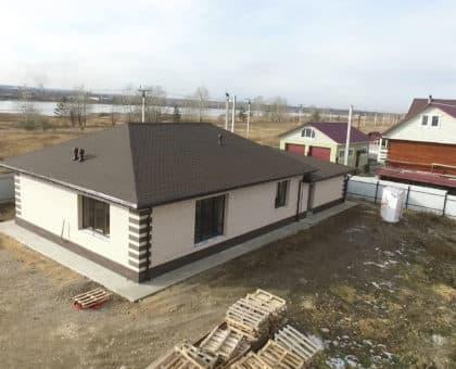 Одноэтажный дом из газобетона 200 кв. м. с гаражом - Фасад 1