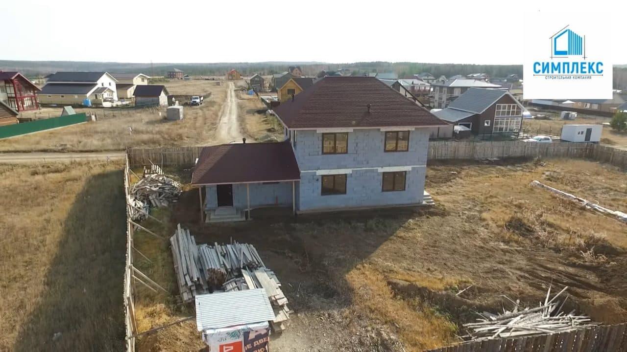 Строительство двухэтажного дома из газобетона в 167 кв.м. - Фасад 1