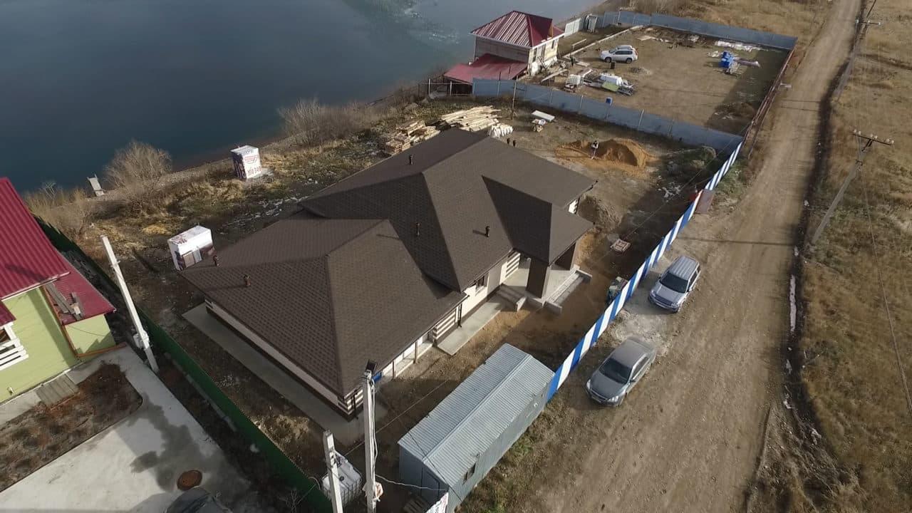 Одноэтажный дом из газобетона 200 кв. м. с гаражом - Фасад 5
