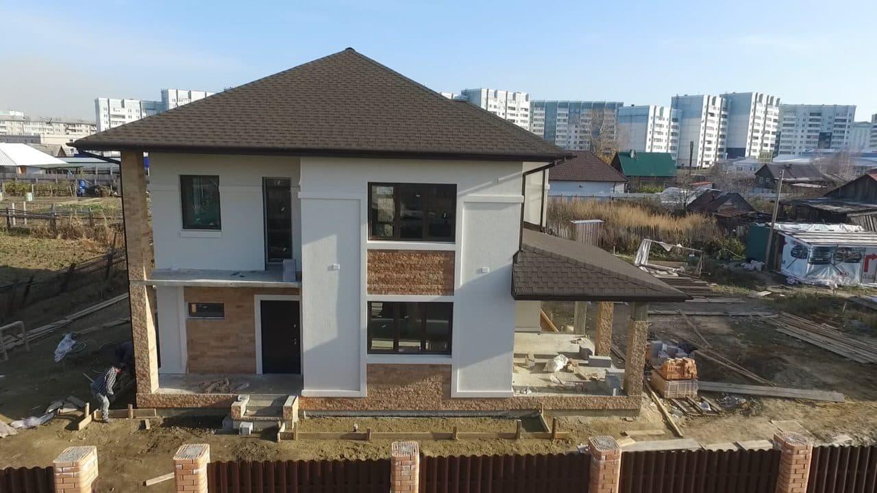 Строительство двух двухэтажных домов из газобетона в г. Ангарск - Фасад 6