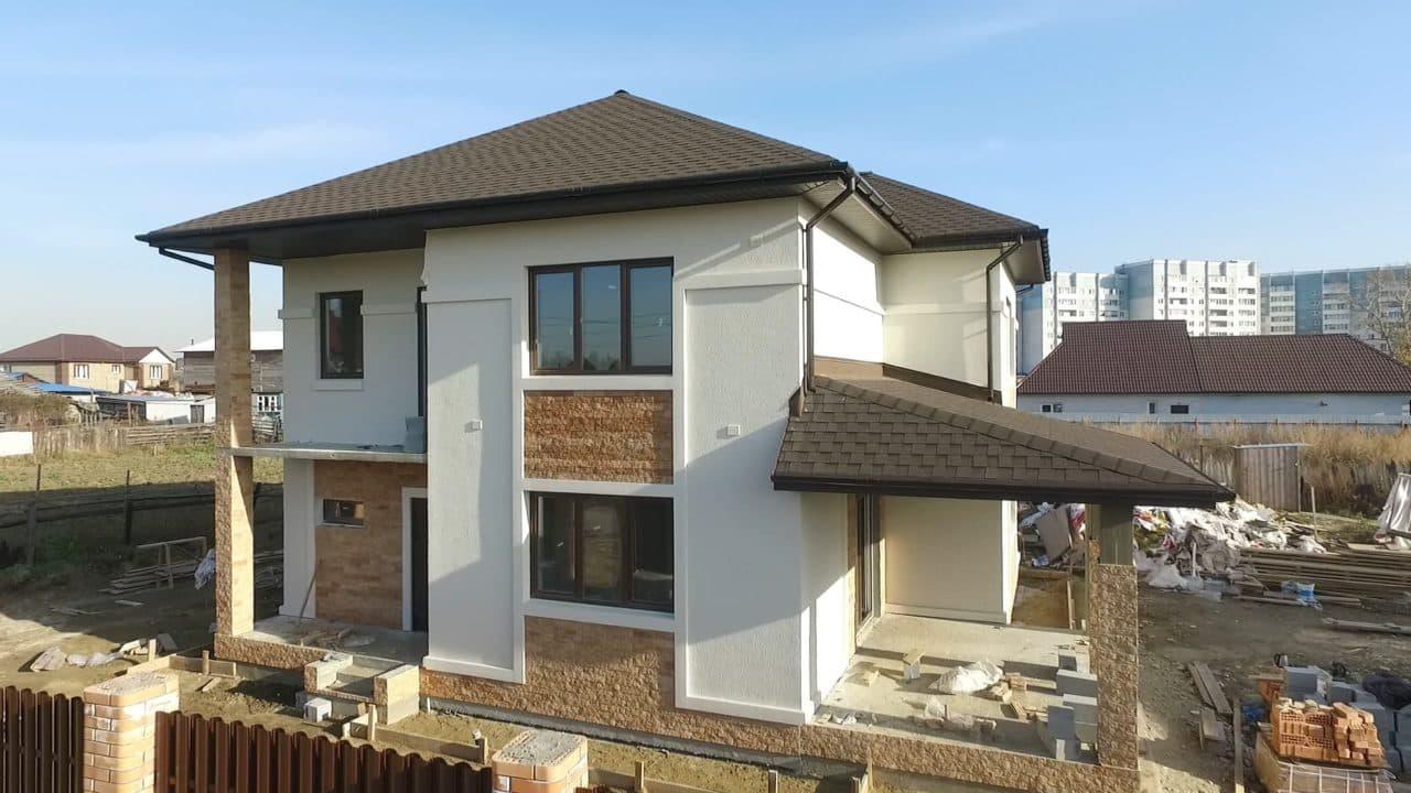 Строительство двух двухэтажных домов из газобетона в г. Ангарск - Фасад 7