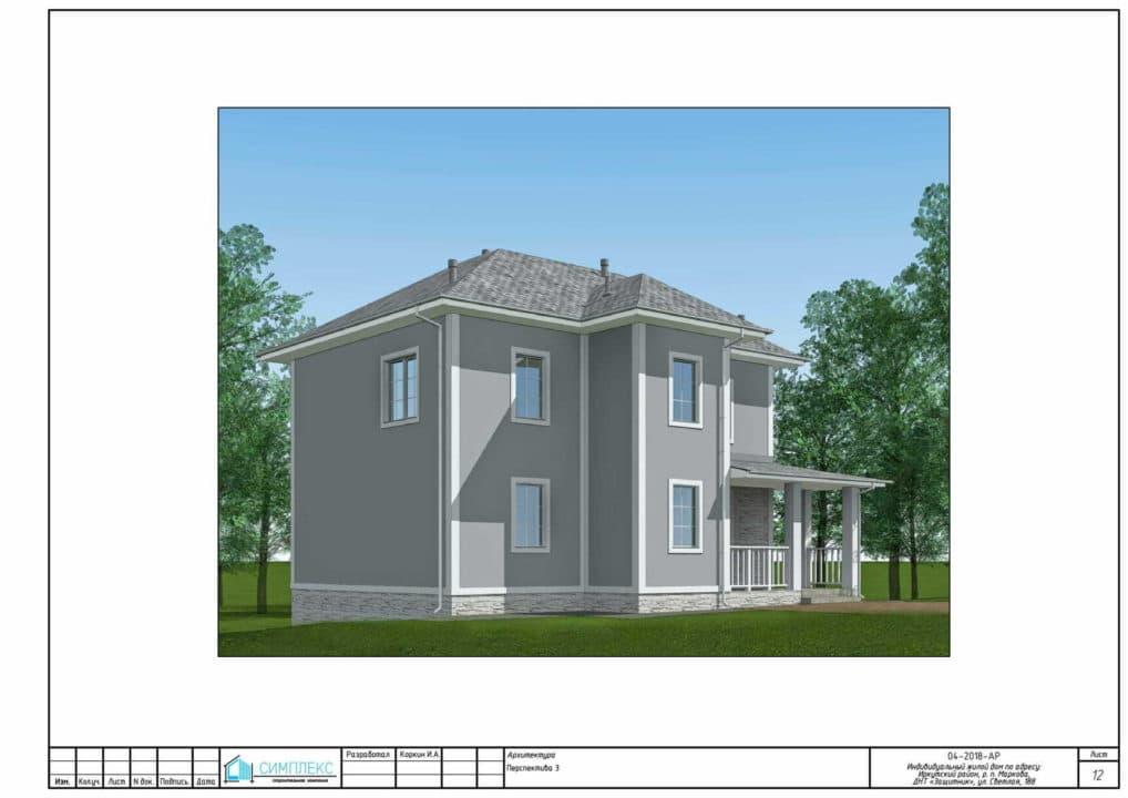 Двухэтажный дом из газобетона - Фасад 4