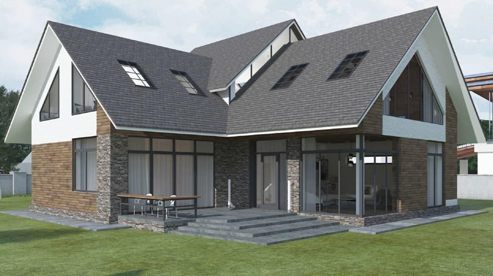 Двухэтажный индивидуальный жилой дом в СНТ Ручеек - Фасад 6