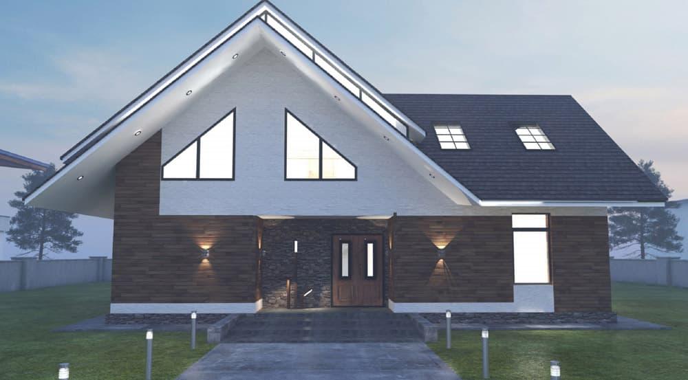 Двухэтажный индивидуальный жилой дом в СНТ Ручеек - Фасад 7