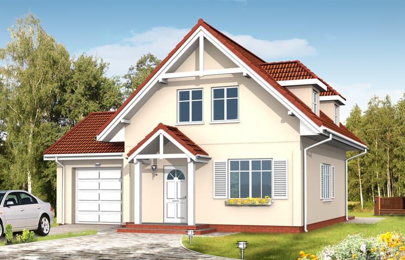 Дом с мансардой Алиция планировка фасад 1