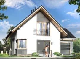 Дом с мансардой Оскар планировка фасад 1